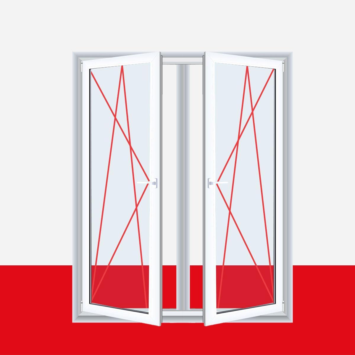 Relativ 2-flüglige Balkontür Kunststoff Pfosten Weiß Shop Balkontüren 2  ED39