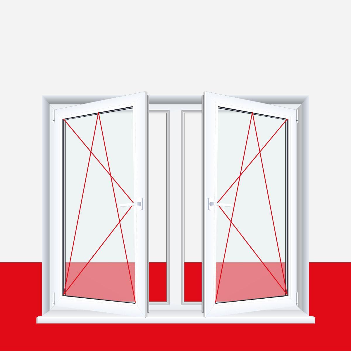Kunststofffenster grau  2-flügliges Kunststofffenster Grau Dreh-Kipp / Dreh-Kipp mit ...
