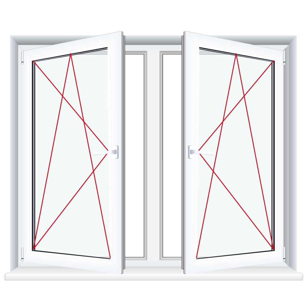 Kunststofffenster weiß  2-flügliges Kunststofffenster Weiß FX Dreh-Kipp / Dreh-Kipp mit ...