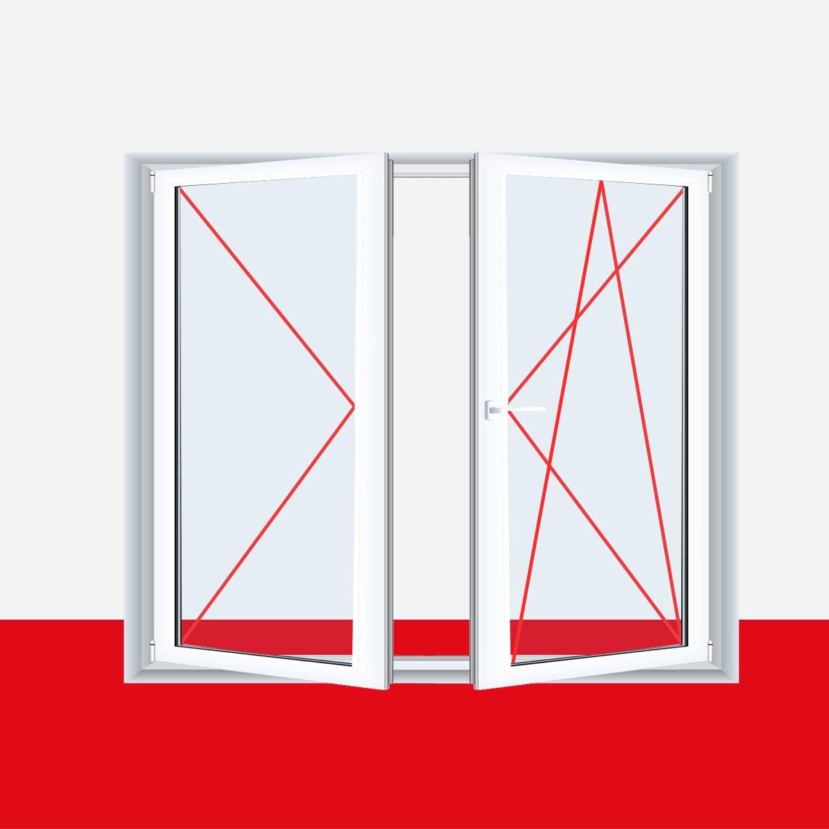 2 fl gliges kunststofffenster pyrite dl dkr o dkl dr mit for Fenster 2 farbig