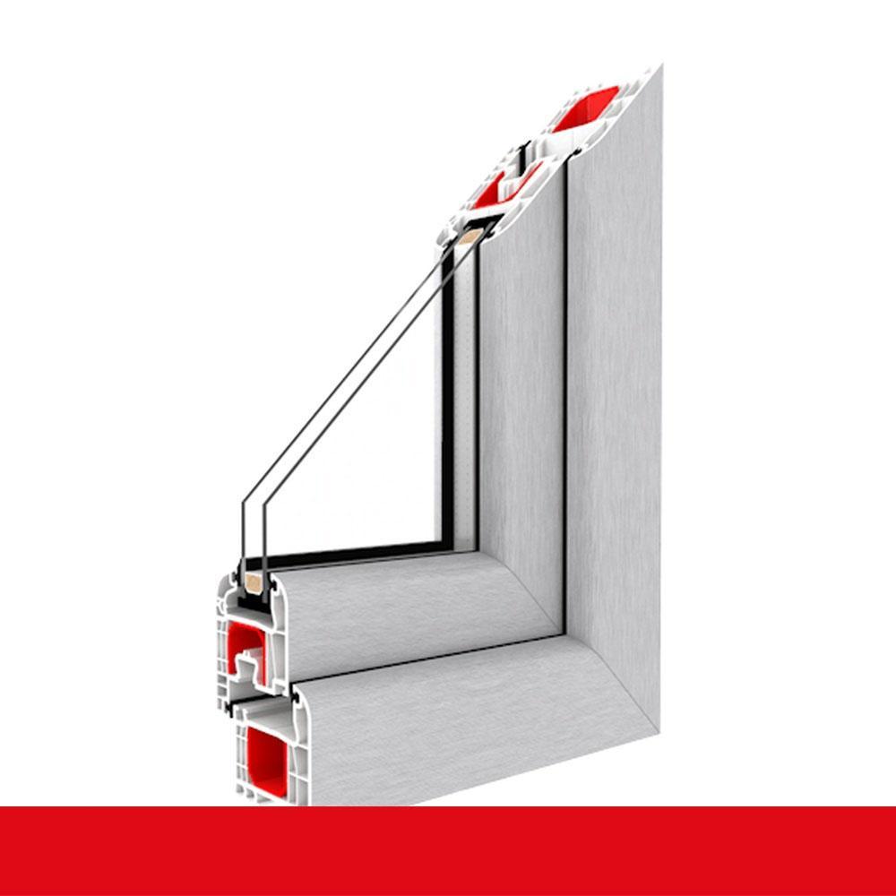 Kunststofffenster Aluminium Gebürstet (Innen und Außen) Dreh Kipp ...