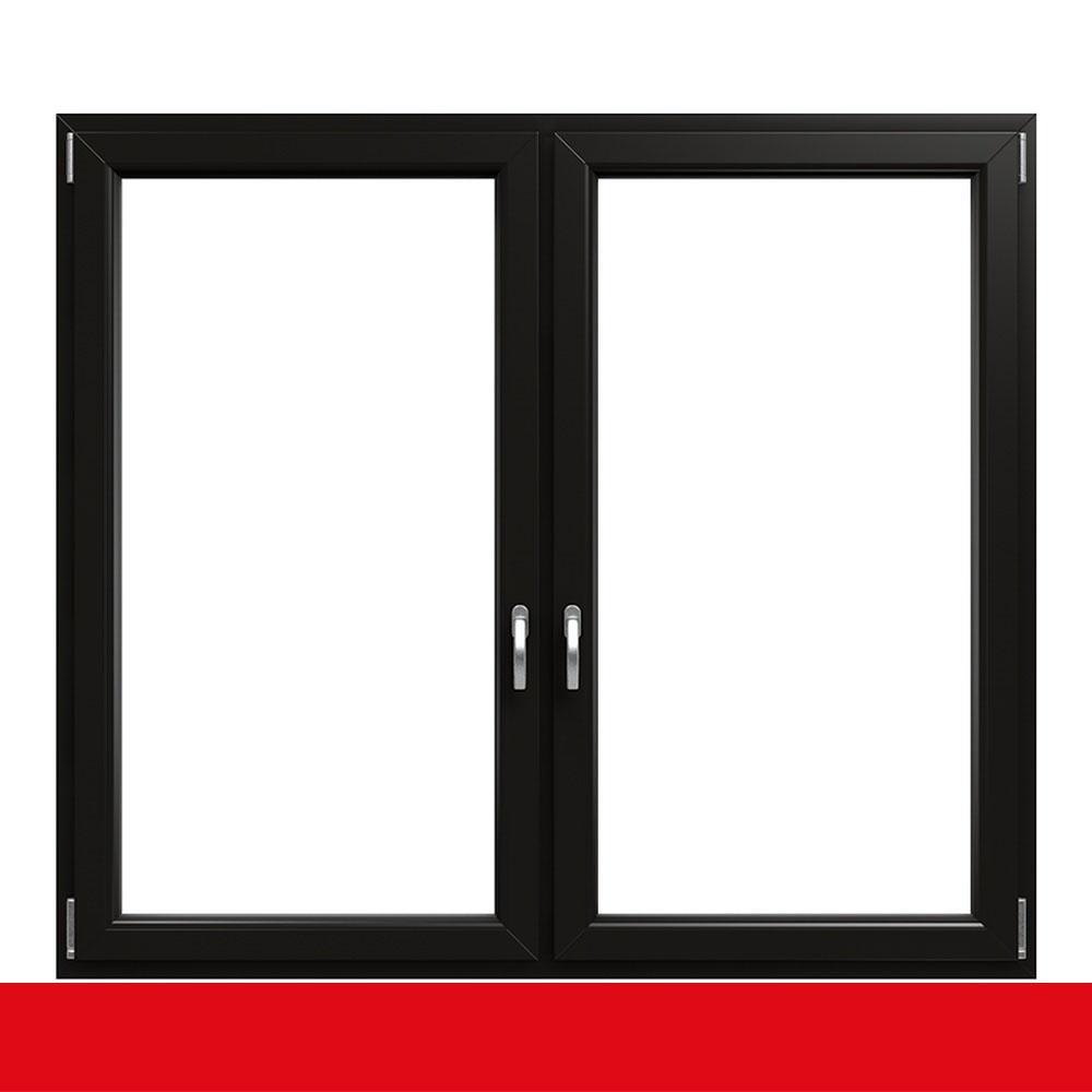 2 fl gliges kunststofffenster light black innen und au en for Fenster 2 farbig